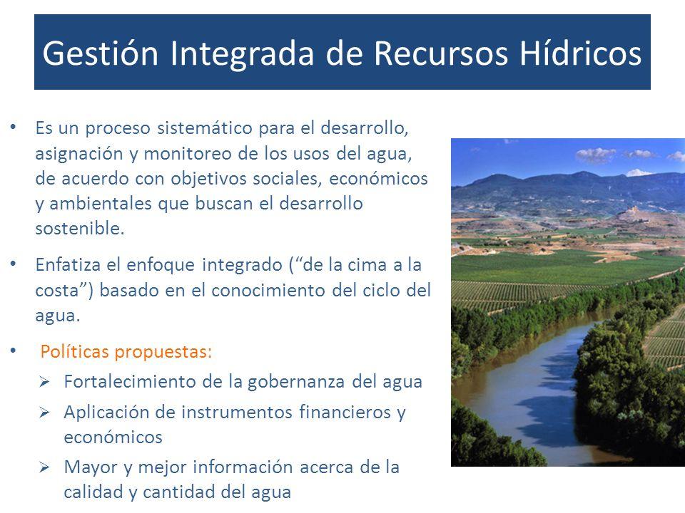 Gestión Integrada de Recursos Hídricos Es un proceso sistemático para el desarrollo, asignación y monitoreo de los usos del agua, de acuerdo con objet