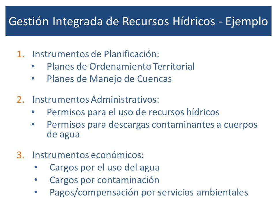 Gestión Integrada de Recursos Hídricos - Ejemplo 1.Instrumentos de Planificación: Planes de Ordenamiento Territorial Planes de Manejo de Cuencas 2.Ins