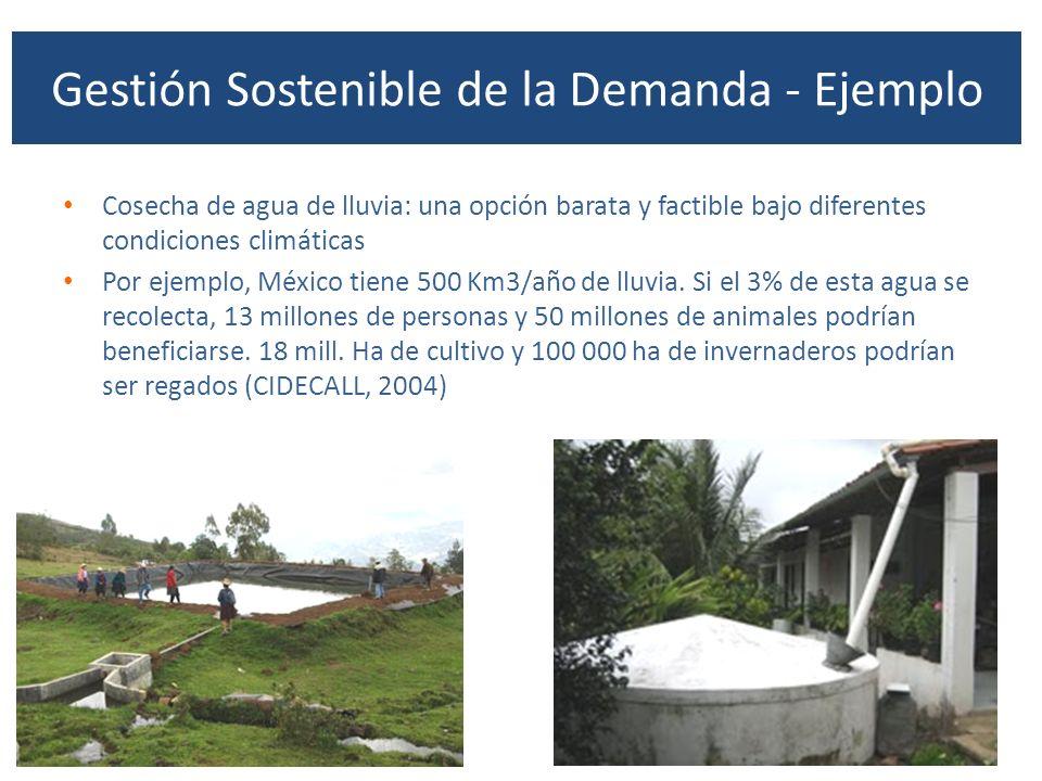 Gestión Sostenible de la Demanda - Ejemplo Cosecha de agua de lluvia: una opción barata y factible bajo diferentes condiciones climáticas Por ejemplo,