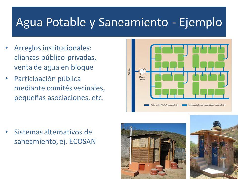 Arreglos institucionales: alianzas público-privadas, venta de agua en bloque Participación pública mediante comités vecinales, pequeñas asociaciones,