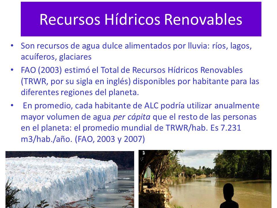 Recursos Hídricos Renovables Son recursos de agua dulce alimentados por lluvia: ríos, lagos, acuíferos, glaciares FAO (2003) estimó el Total de Recurs