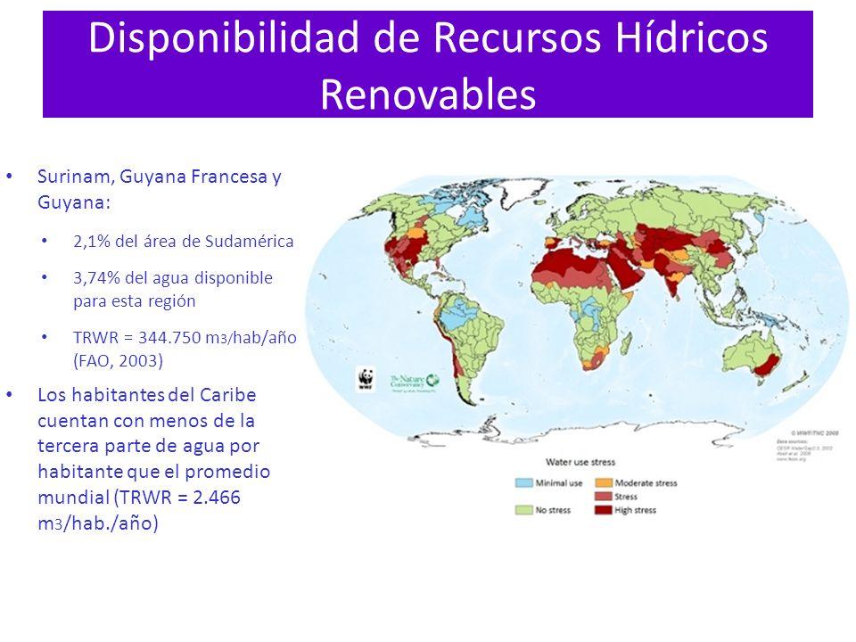 Disponibilidad de Recursos Hídricos Renovables Surinam, Guyana Francesa y Guyana: 2,1% del área de Sudamérica 3,74% del agua disponible para esta regi