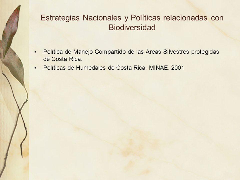 Estrategias Nacionales y Políticas relacionadas con Biodiversidad Política de Manejo Compartido de las Áreas Silvestres protegidas de Costa Rica. Polí