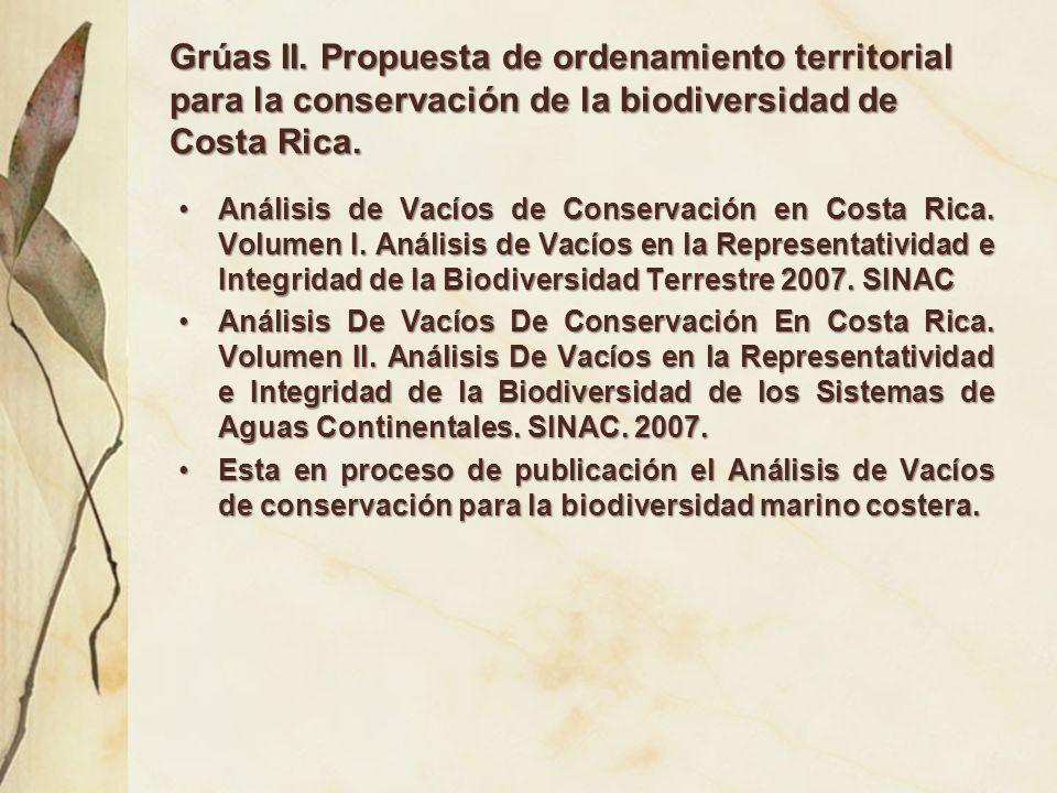 Grúas II. Propuesta de ordenamiento territorial para la conservación de la biodiversidad de Costa Rica. Análisis de Vacíos de Conservación en Costa Ri