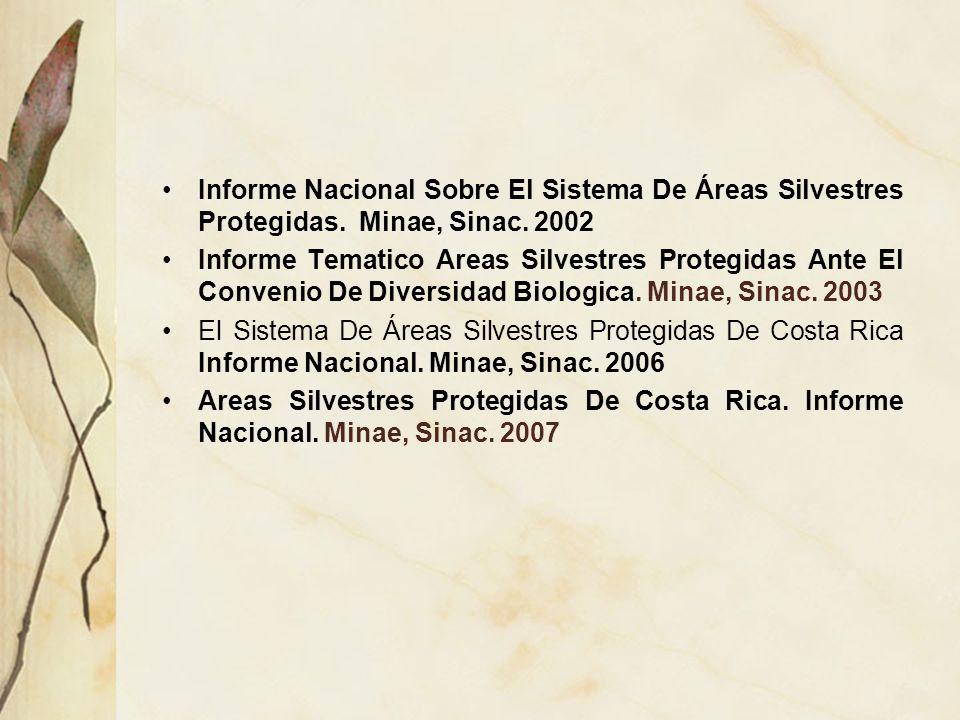 Informe Nacional Sobre El Sistema De Áreas Silvestres Protegidas. Minae, Sinac. 2002 Informe Tematico Areas Silvestres Protegidas Ante El Convenio De