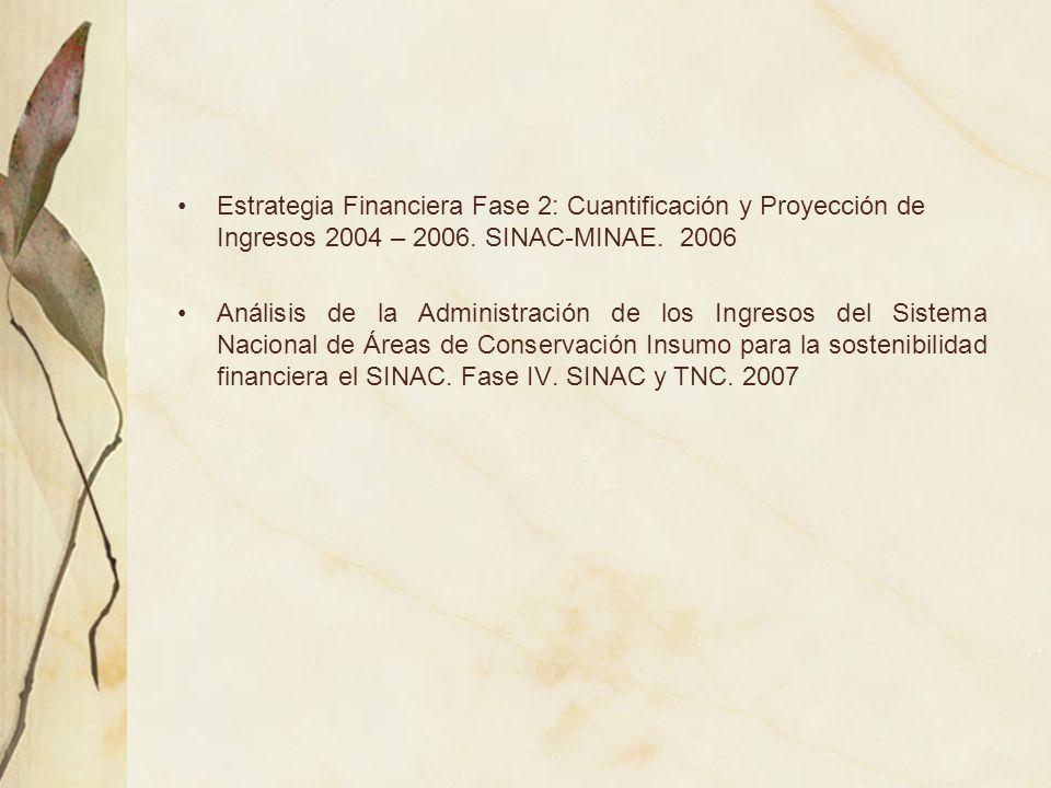 Estrategia Financiera Fase 2: Cuantificación y Proyección de Ingresos 2004 – 2006. SINAC-MINAE. 2006 Análisis de la Administración de los Ingresos del
