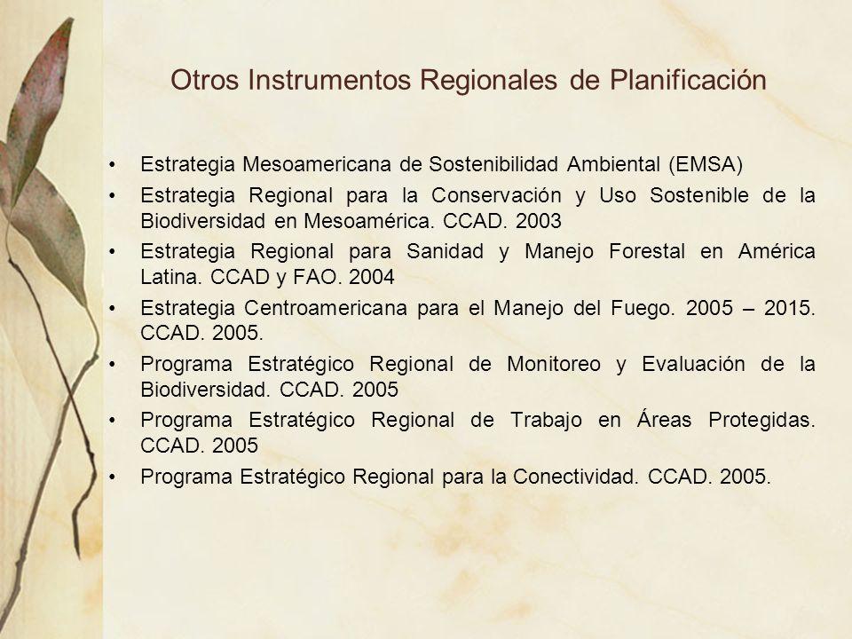 Otros Instrumentos Regionales de Planificación Estrategia Mesoamericana de Sostenibilidad Ambiental (EMSA) Estrategia Regional para la Conservación y