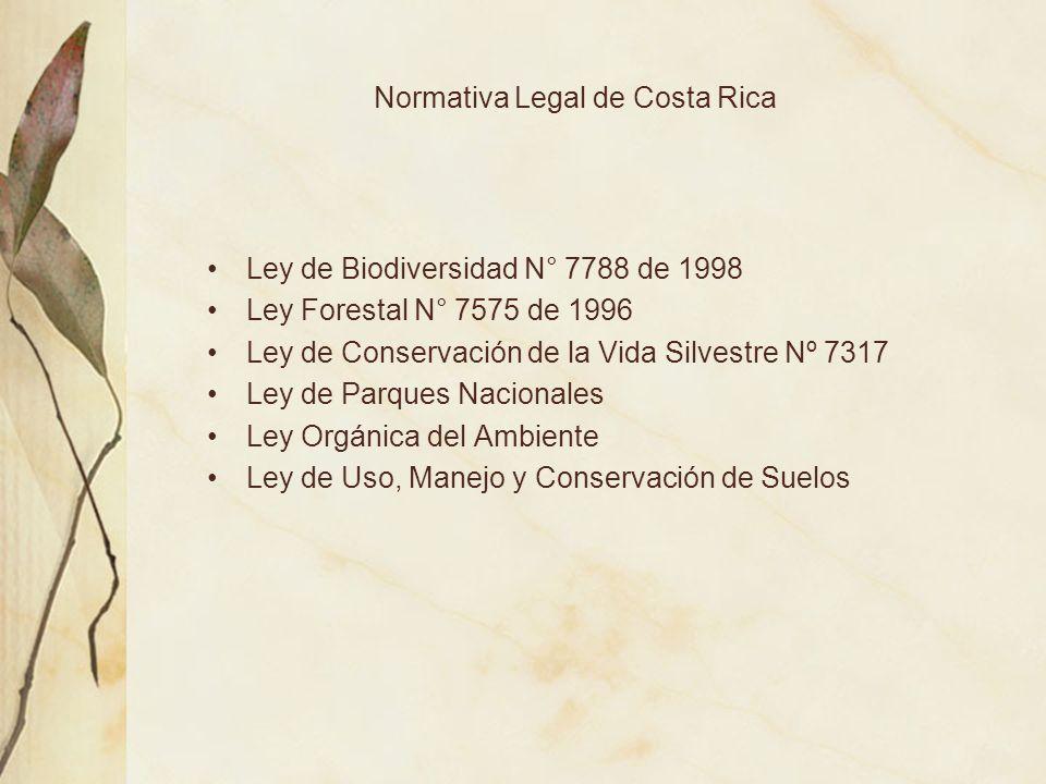 Normativa Legal de Costa Rica Ley de Biodiversidad N° 7788 de 1998 Ley Forestal N° 7575 de 1996 Ley de Conservación de la Vida Silvestre Nº 7317 Ley d