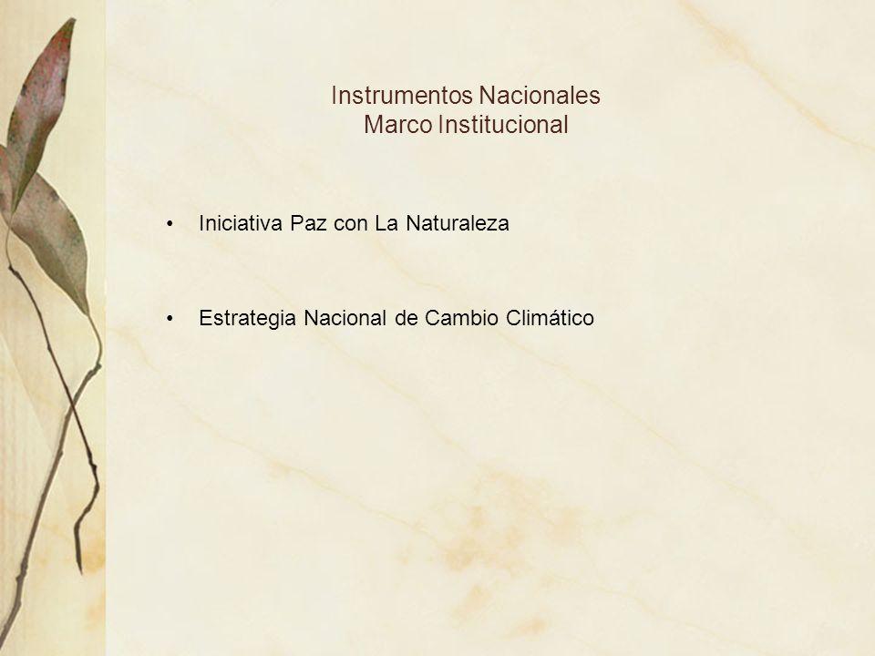 Instrumentos Nacionales Marco Institucional Iniciativa Paz con La Naturaleza Estrategia Nacional de Cambio Climático