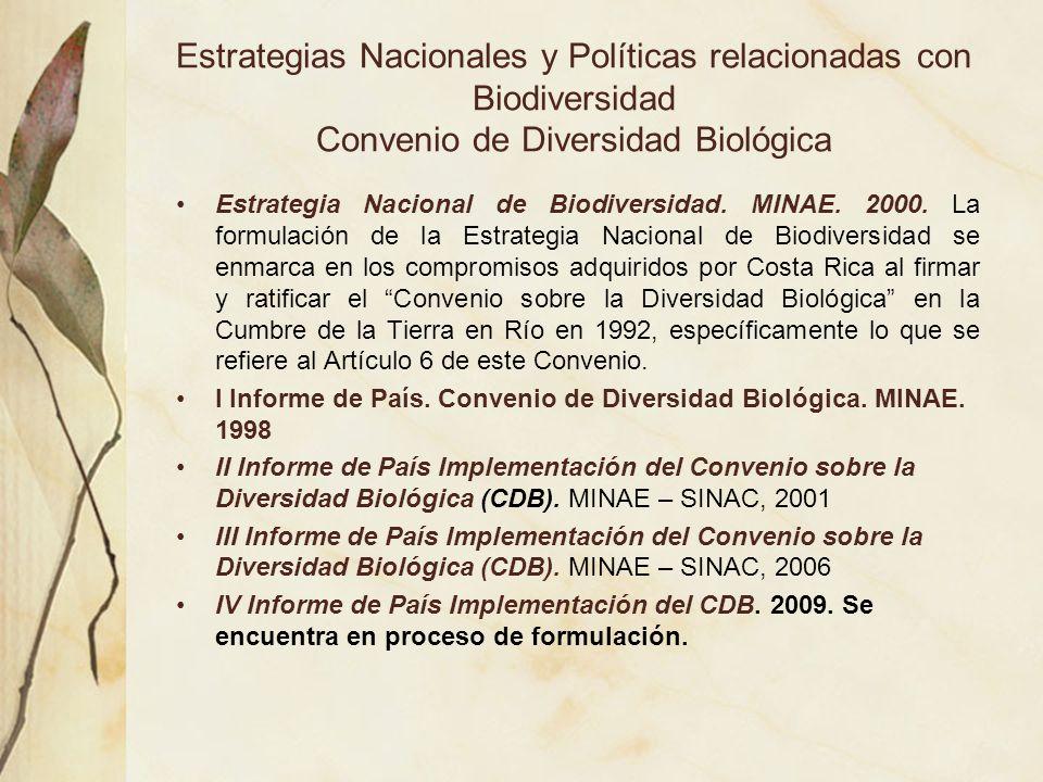 Estrategias Nacionales y Políticas relacionadas con Biodiversidad Convenio de Diversidad Biológica Estrategia Nacional de Biodiversidad. MINAE. 2000.