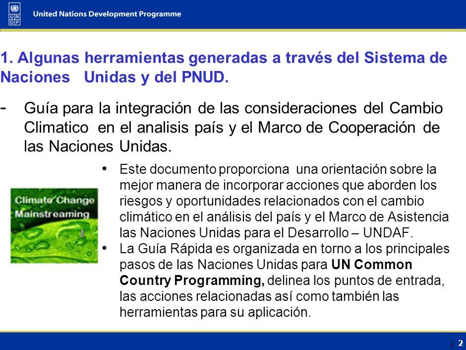 2 1.Algunas herramientas generadas a través del Sistema de Naciones Unidas y del PNUD.