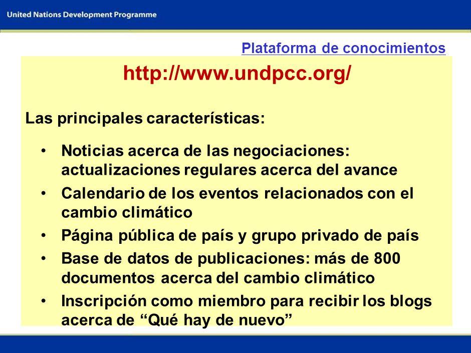 4 - Plataforma del conocimiento sobre cambio climático. http://www.undpcc.org/