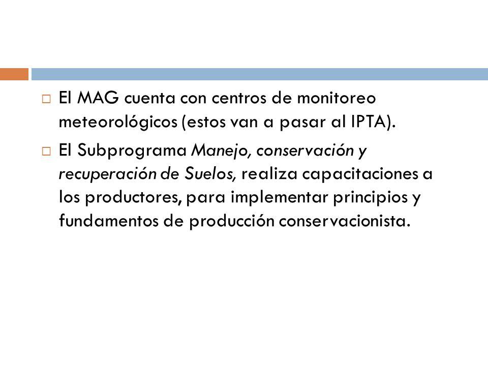 El MAG cuenta con centros de monitoreo meteorológicos (estos van a pasar al IPTA).