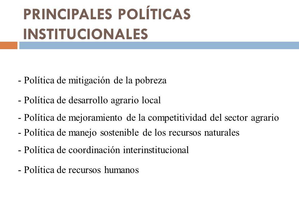 PRINCIPALES POLÍTICAS INSTITUCIONALES - Política de mitigación de la pobreza - Política de desarrollo agrario local - Política de mejoramiento de la competitividad del sector agrario - Política de manejo sostenible de los recursos naturales - Política de coordinación interinstitucional - Política de recursos humanos