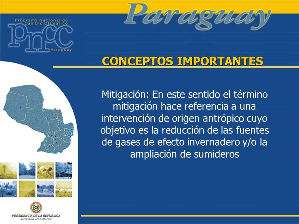CONCEPTOS IMPORTANTES Mitigación: En este sentido el término mitigación hace referencia a una intervención de origen antrópico cuyo objetivo es la red