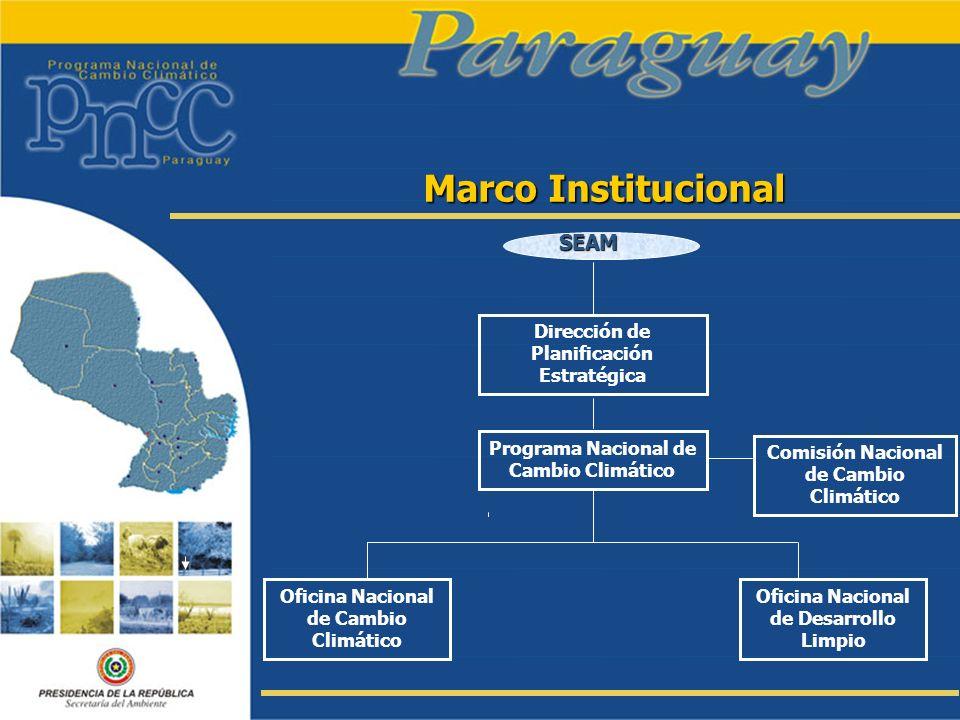 Marco Institucional SEAM Dirección de Planificación Estratégica Programa Nacional de Cambio Climático Comisión Nacional de Cambio Climático Oficina Na