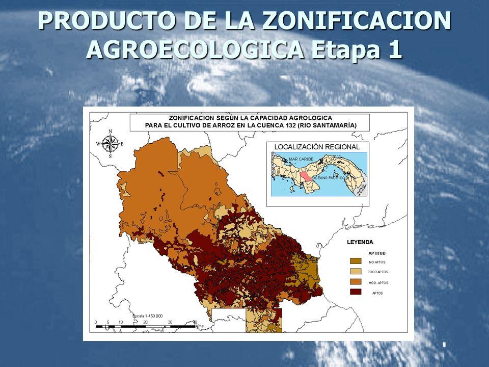 PRODUCTO DE LA ZONIFICACION AGROECOLOGICA Etapa 1