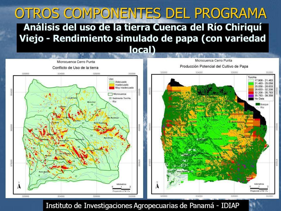 OTROS COMPONENTES DEL PROGRAMA Análisis del uso de la tierra Cuenca del Río Chiriquí Viejo - Rendimiento simulado de papa (con variedad local) Institu