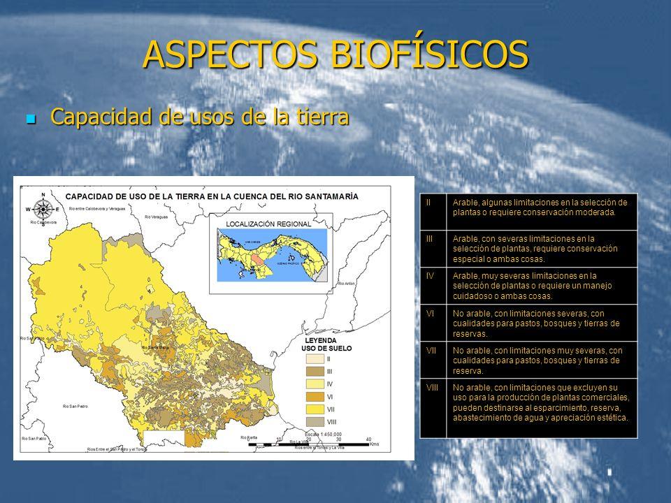 ASPECTOS BIOFÍSICOS Capacidad de usos de la tierra Capacidad de usos de la tierra IIArable, algunas limitaciones en la selección de plantas o requiere
