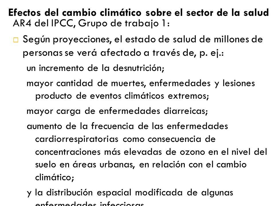 Efectos del cambio climático sobre el sector de la salud AR4 del IPCC, Grupo de trabajo 1: Según proyecciones, el estado de salud de millones de personas se verá afectado a través de, p.