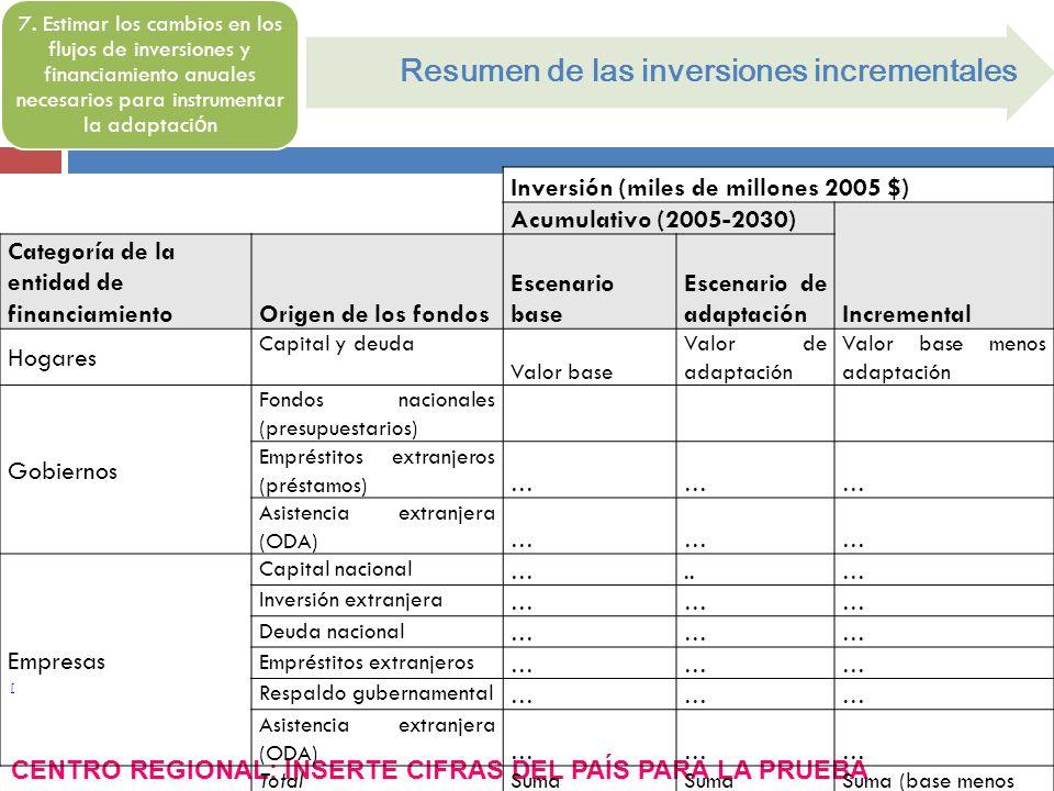 [ Resumen de las inversiones incrementales 7. Estimar los cambios en los flujos de inversiones y financiamiento anuales necesarios para instrumentar l