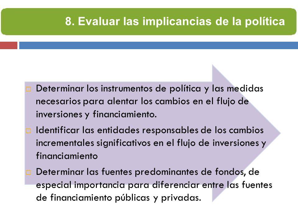 Determinar los instrumentos de política y las medidas necesarios para alentar los cambios en el flujo de inversiones y financiamiento. Identificar las