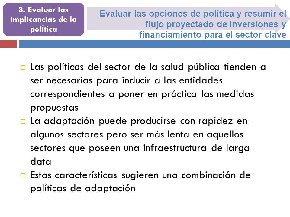 Evaluar las opciones de política y resumir el flujo proyectado de inversiones y financiamiento para el sector clave 8. Evaluar las implicancias de la