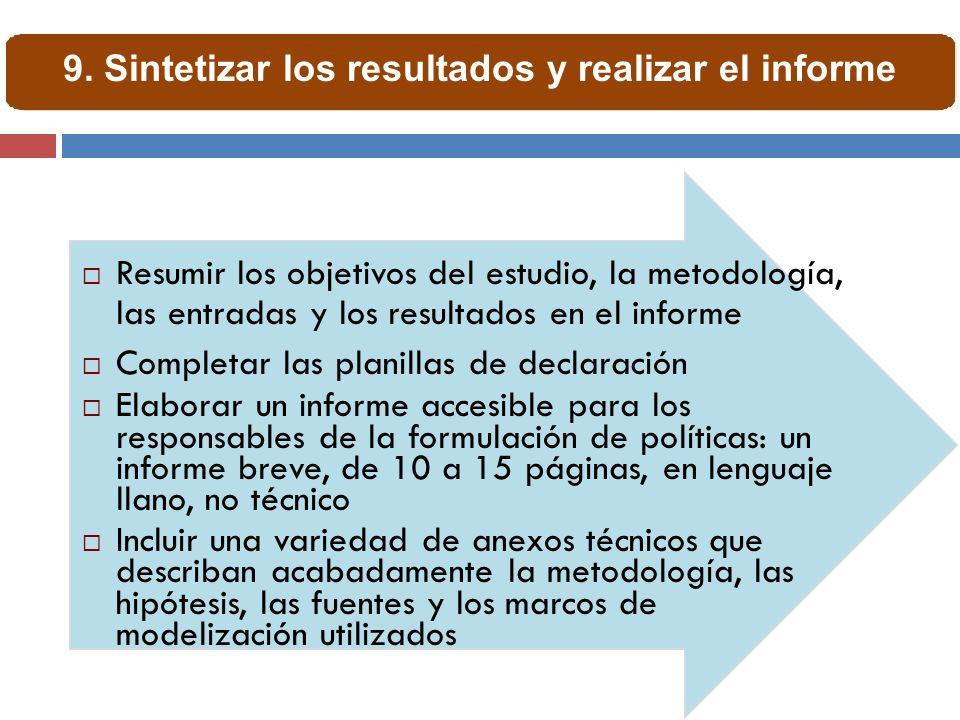 Resumir los objetivos del estudio, la metodología, las entradas y los resultados en el informe Completar las planillas de declaración Elaborar un info