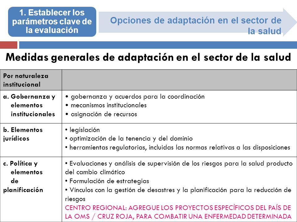 Opciones de adaptación en el sector de la salud 1. Establecer los parámetros clave de la evaluación Medidas generales de adaptación en el sector de la