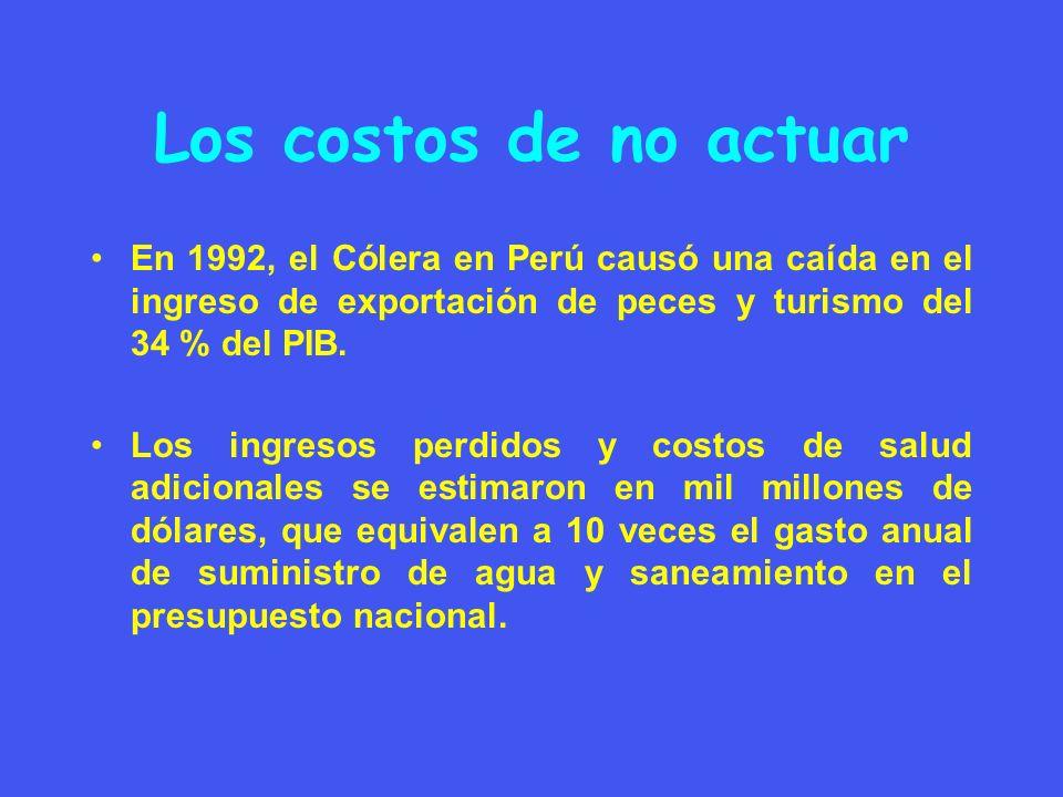 Los costos de no actuar En 1992, el Cólera en Perú causó una caída en el ingreso de exportación de peces y turismo del 34 % del PIB. Los ingresos perd