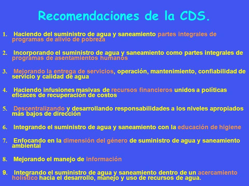 Recomendaciones de la CDS. 1. Haciendo del suministro de agua y saneamiento partes integrales de programas de alivio de pobreza 2. Incorporando el sum