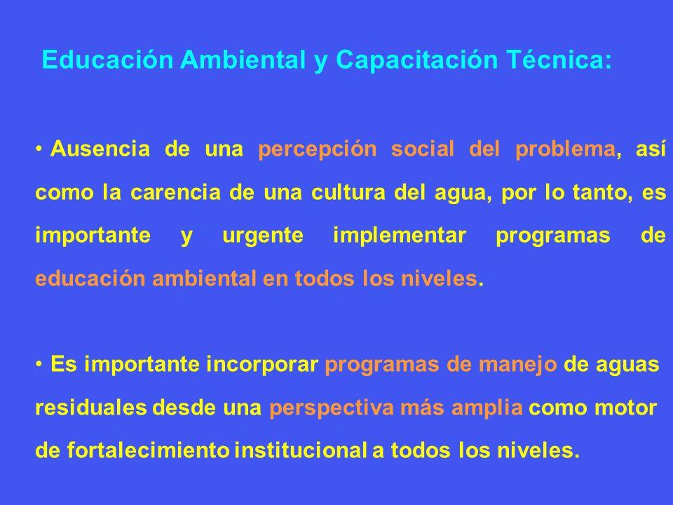 Educación Ambiental y Capacitación Técnica: Ausencia de una percepción social del problema, así como la carencia de una cultura del agua, por lo tanto