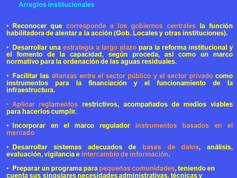Arreglos institucionales Reconocer que corresponde a los gobiernos centrales la función habilitadora de alentar a la acción (Gob. Locales y otras inst