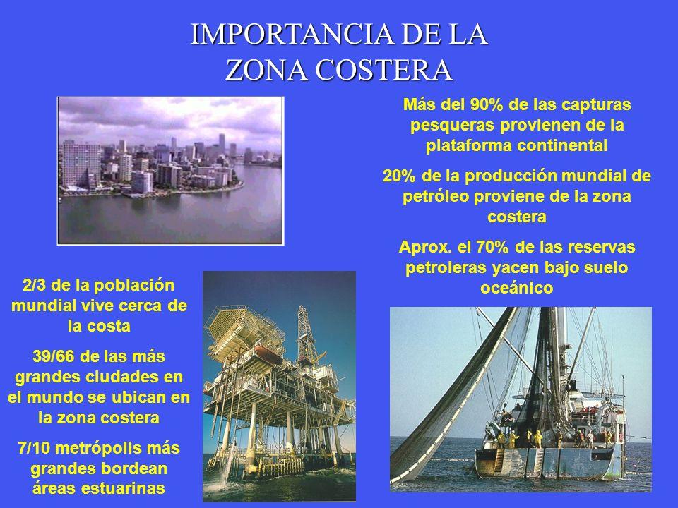 IMPORTANCIA DE LA ZONA COSTERA 2/3 de la población mundial vive cerca de la costa 39/66 de las más grandes ciudades en el mundo se ubican en la zona c