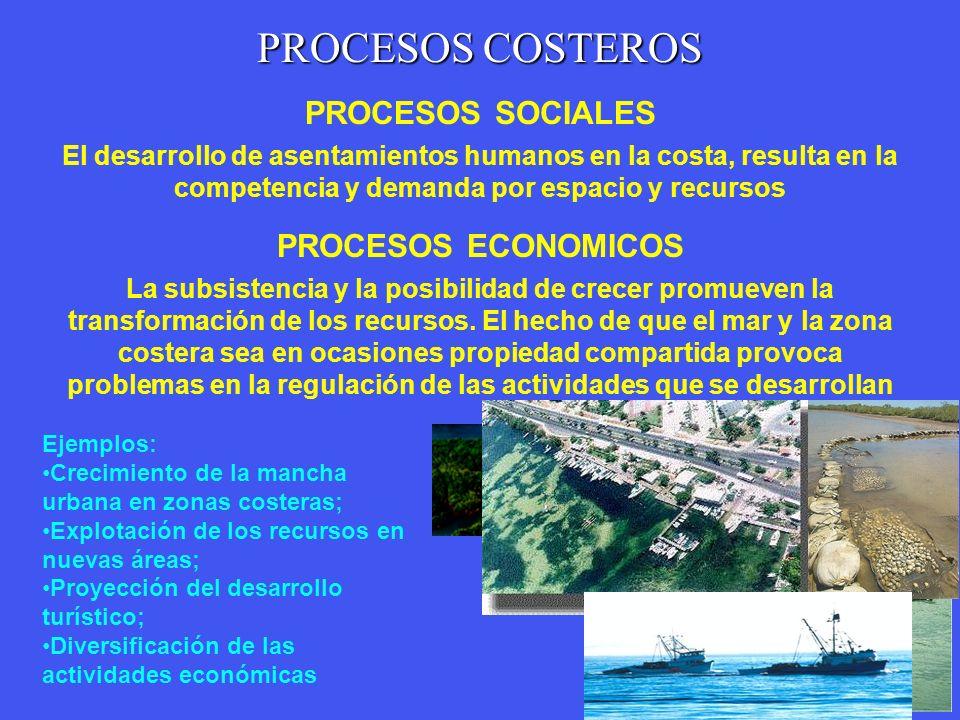 PROCESOS COSTEROS PROCESOS NATURALES Son cambios o procesos físicos, químicos, biológicos y geológicos. Los cambios graduales, estacionales o estocást