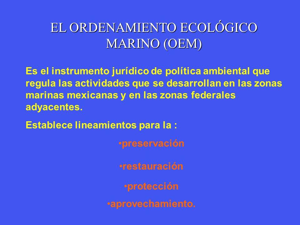 preservación EL ORDENAMIENTO ECOLÓGICO MARINO (OEM) Es el instrumento jurídico de política ambiental que regula las actividades que se desarrollan en