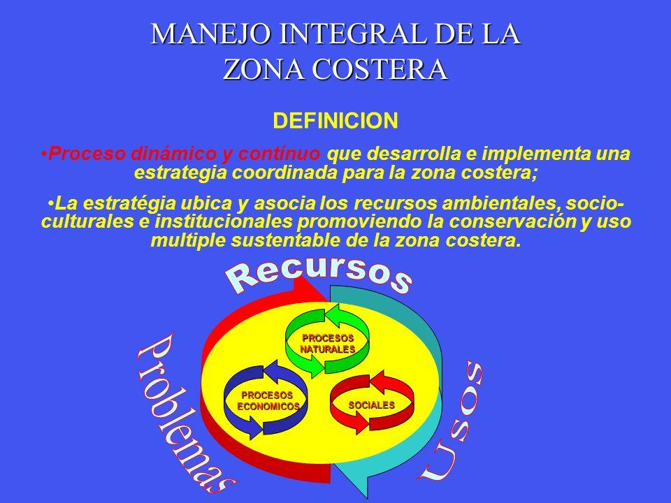MANEJO INTEGRAL DE LA ZONA COSTERA DEFINICION Proceso dinámico y contínuo que desarrolla e implementa una estrategia coordinada para la zona costera;