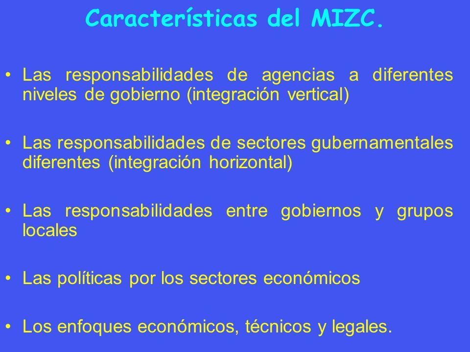 Características del MIZC. Las responsabilidades de agencias a diferentes niveles de gobierno (integración vertical) Las responsabilidades de sectores