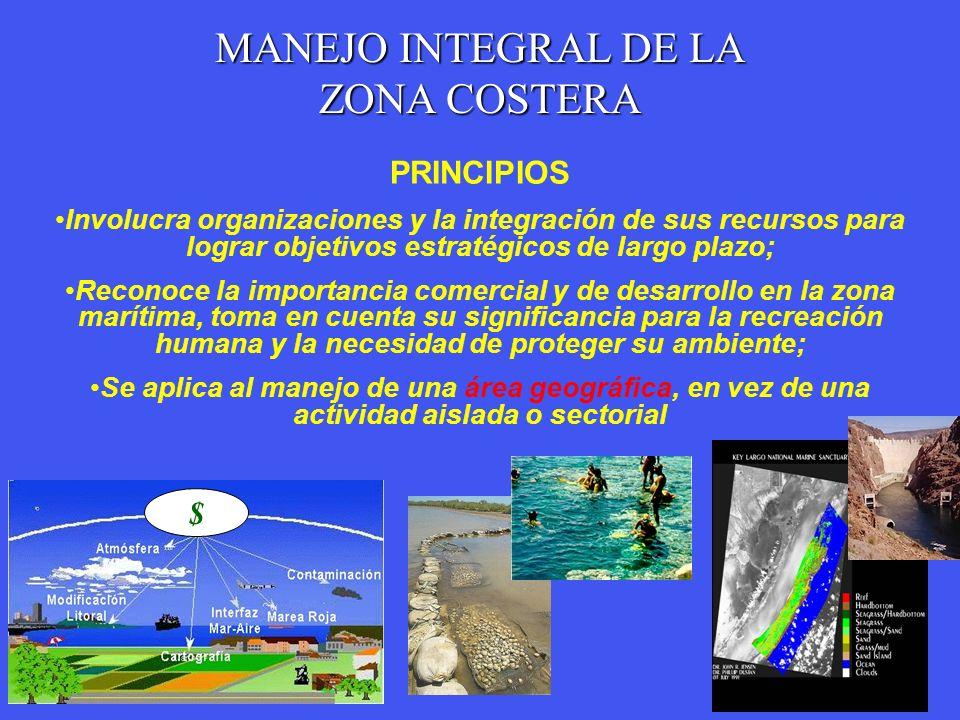 MANEJO INTEGRAL DE LA ZONA COSTERA PRINCIPIOS Involucra organizaciones y la integración de sus recursos para lograr objetivos estratégicos de largo pl