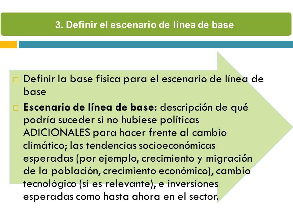 Definir la base física para el escenario de línea de base Escenario de línea de base: descripción de qué podría suceder si no hubiese políticas ADICIO