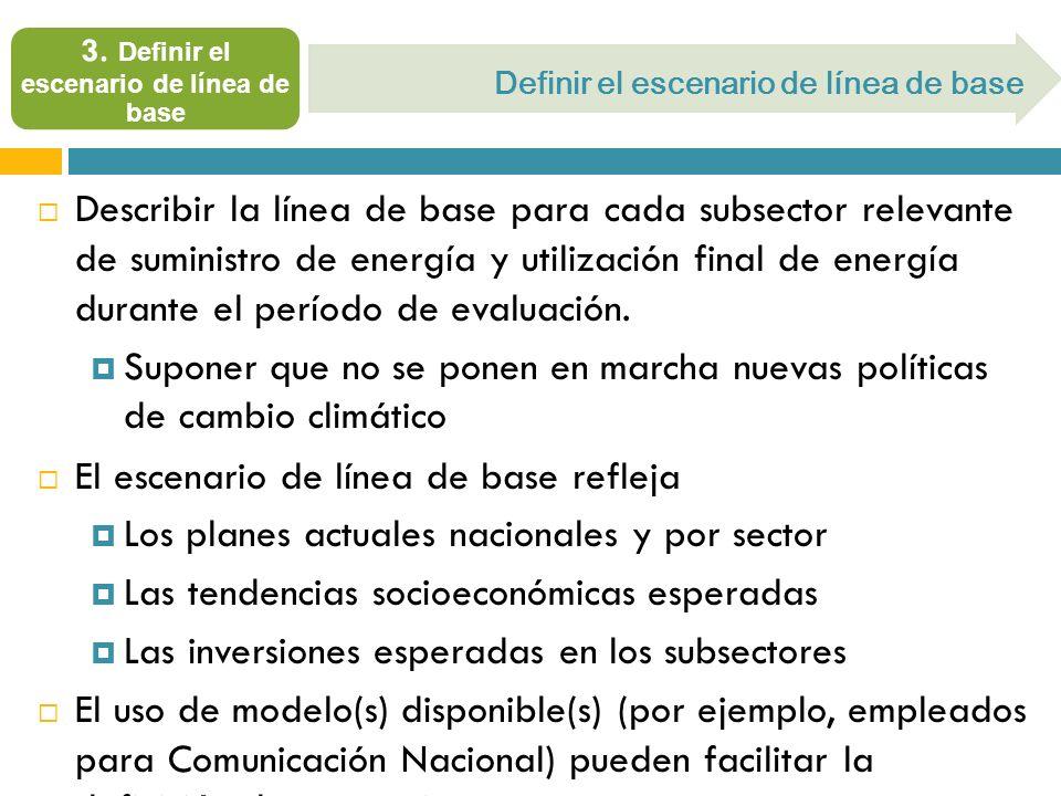 Describir la línea de base para cada subsector relevante de suministro de energía y utilización final de energía durante el período de evaluación. Sup