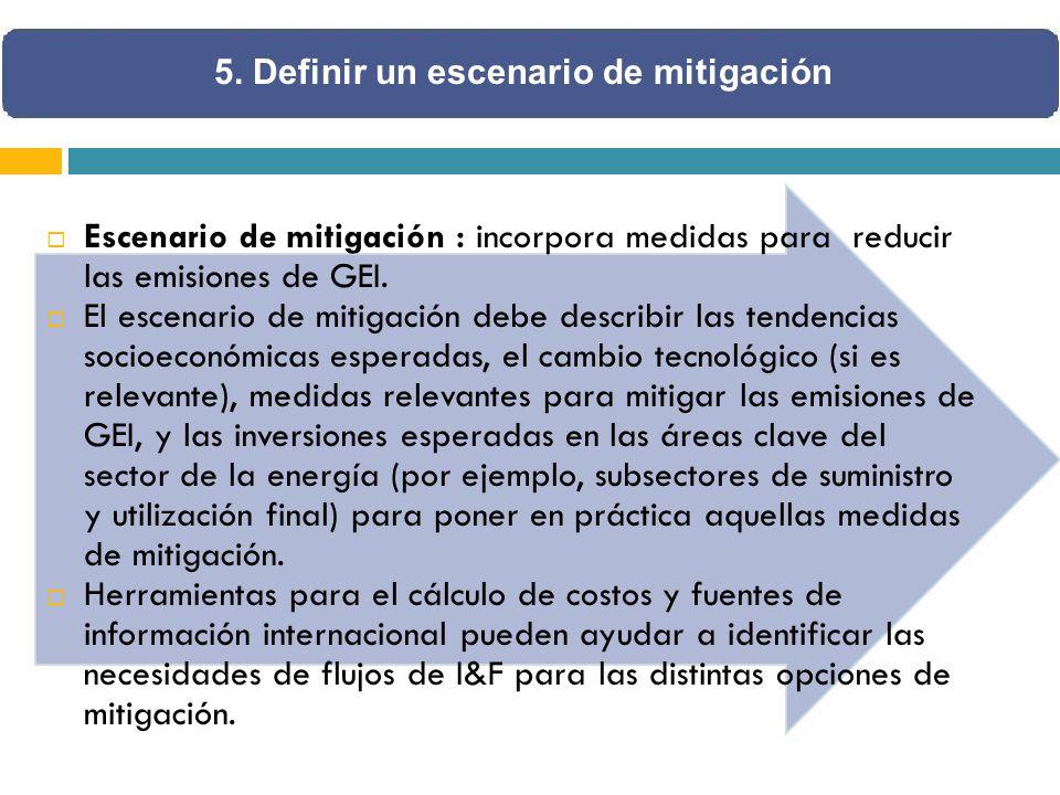 Escenario de mitigación : incorpora medidas para reducir las emisiones de GEI. El escenario de mitigación debe describir las tendencias socioeconómica