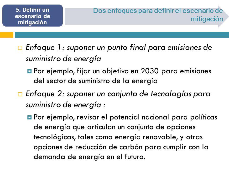 5. Definir un escenario de mitigación Dos enfoques para definir el escenario de mitigación Enfoque 1: suponer un punto final para emisiones de suminis