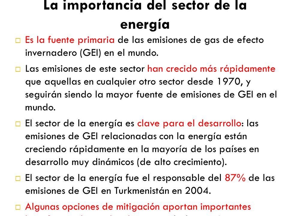 La importancia del sector de la energía Es la fuente primaria de las emisiones de gas de efecto invernadero (GEI) en el mundo. Las emisiones de este s