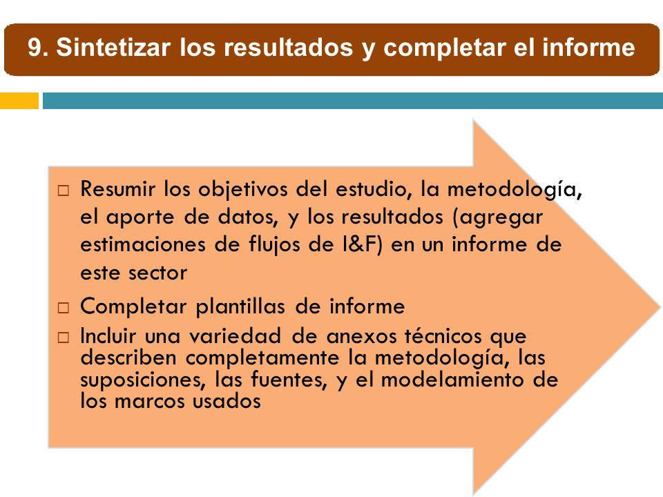 Resumir los objetivos del estudio, la metodología, el aporte de datos, y los resultados (agregar estimaciones de flujos de I&F) en un informe de este