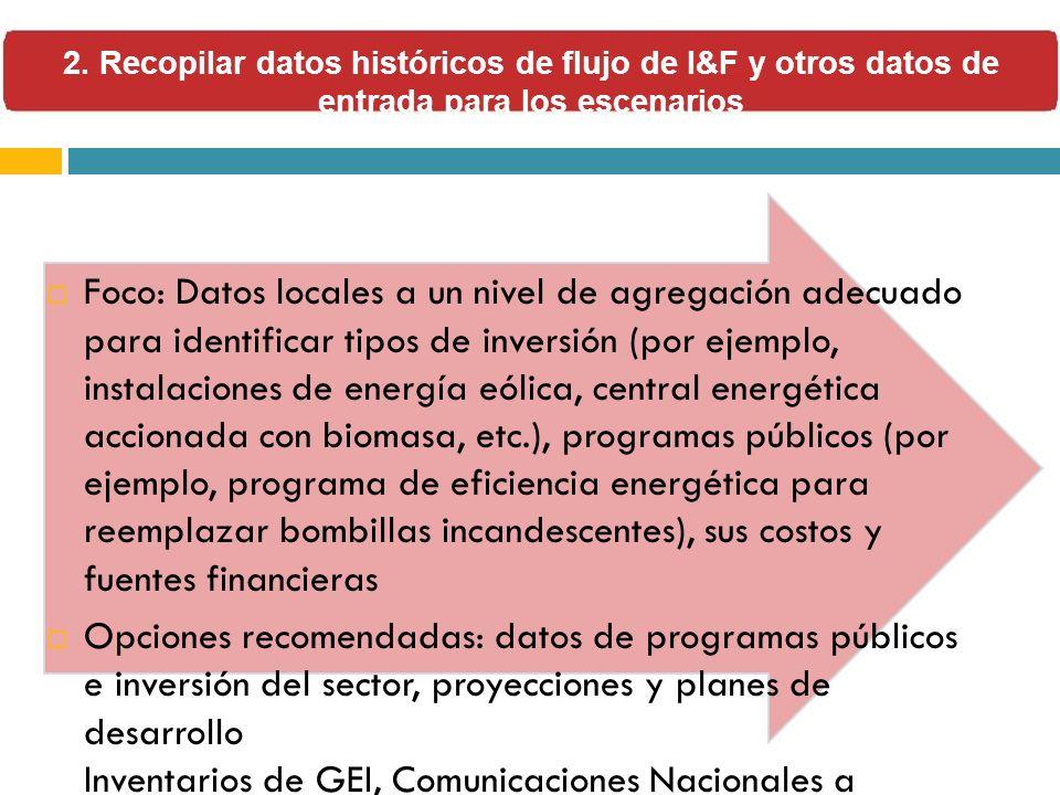 Foco: Datos locales a un nivel de agregación adecuado para identificar tipos de inversión (por ejemplo, instalaciones de energía eólica, central energ