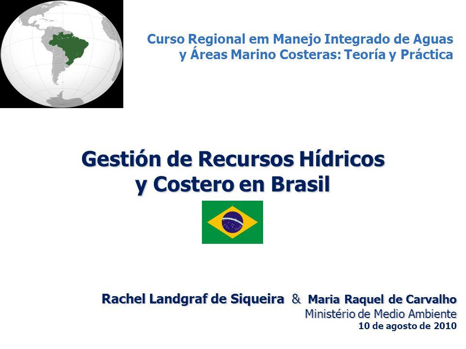 Distribución Poblacional, Territorial y de Recursos Hídricos en Brasil Región Hidrográfica Recursos Hídricos (%) (Caldal promédio) Área Total (%) Población (%) Amazônica 73,6%45,4%4,9% Tocantins-Araguaia 7,7%10,8%4,3% Atlântico Nordeste Ocidental 1,5%3,2%3,1% Parnaíba 0,4%3,9%2,1% Atlântico Nordeste Oriental 0,4%3,4%12,5% São Francisco 1,6%7,5%7,4% Atlântico Leste 0,8%4,5%8,1% Atlântico Sudeste 1,8%2,5%14,7% Atlântico Sul 2,3%2,2%7,0% Paraná 6,4%10,3%32,7% Uruguai 2,3%2,0%2,1% Paraguai 1,3%4,3%1,1% Región Amazônia 74% disponibilidad del agua 5% Población Otras regiones 26% disponibilidad del agua 95% Poblacion