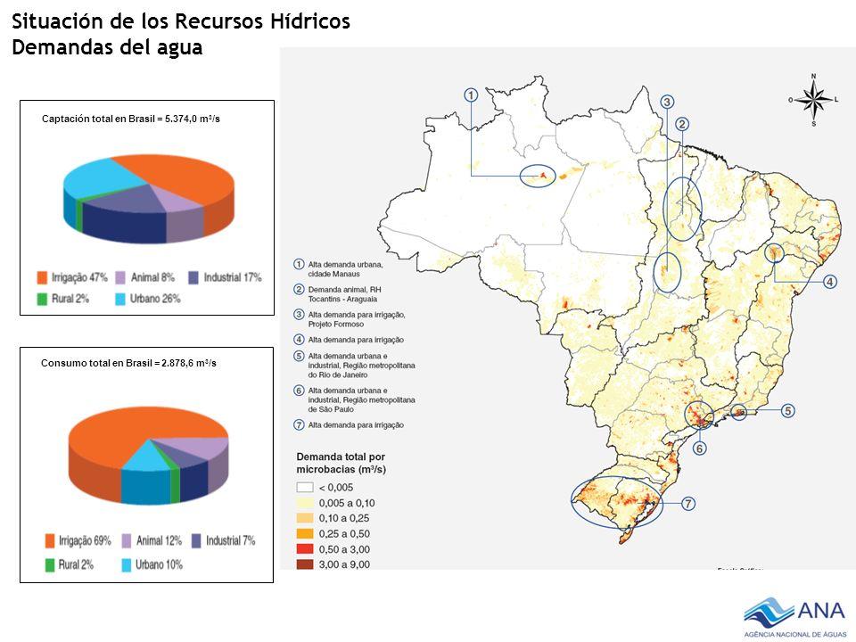 Situación de los Recursos Hídricos Demandas del agua Captación total en Brasil = 5.374,0 m 3 /s Consumo total en Brasil = 2.878,6 m 3 /s