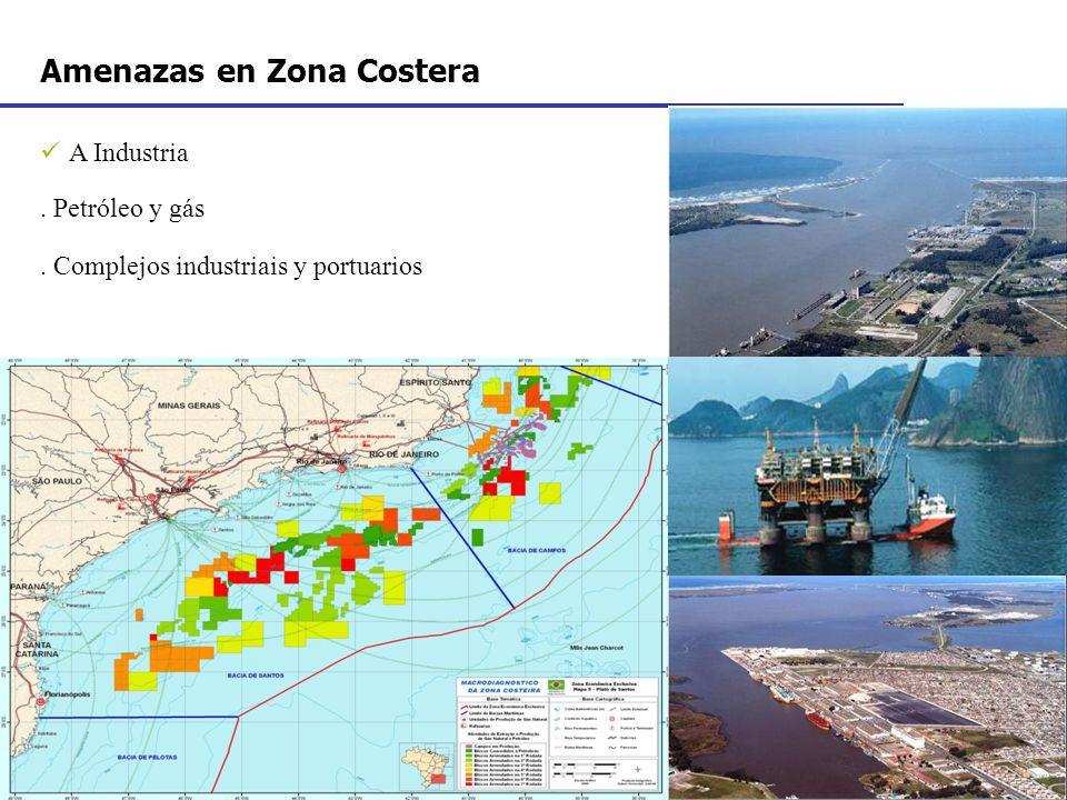A Industria. Petróleo y gás. Complejos industriais y portuarios Amenazas en Zona Costera