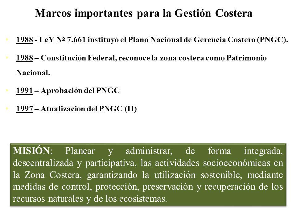 Marcos importantes para la Gestión Costera 1988 - LeY N o 7.661 instituyó el Plano Nacional de Gerencia Costero (PNGC). 1988 – Constitución Federal, r